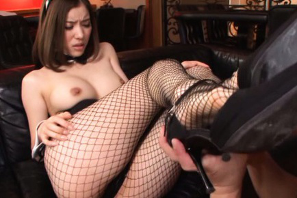 Yuria ashina. Yuria Ashina Asian on heels has fishnets ripped to