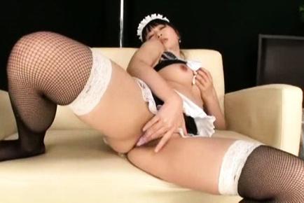 Nozomi hazuki. Nozomi Hazuki house keeper pours saliva on cans and fondles them