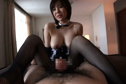 Nanako mori. Nanako Mori Asian with bunny ears reveals one of her large tits
