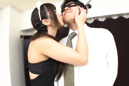 Hibiki ohtsuki. Hibiki Ohtsuki Asian house keeper licks nipples of masked hunk