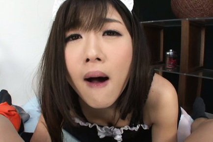Hibiki ohtsuki. Hibiki Ohtsuki Asian house keeper blowjob and licks balls and dick