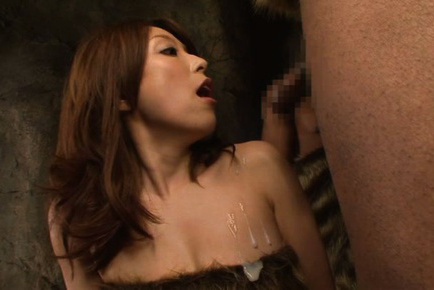 Yuuko shiraki. Yuuko Shiraki Asian in fur takes cave men cocks in her mouth