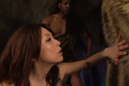 Yuuko shiraki. Yuuko Shiraki Asian in fur takes cave men cocks