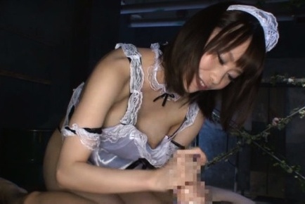 Misuzu kawana. Misuzu Kawana Asian maid with exposed hot anus strokes shlong