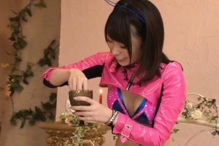 Misuzu kawana. Misuzu Kawana Asian in pink petite outfit rubs