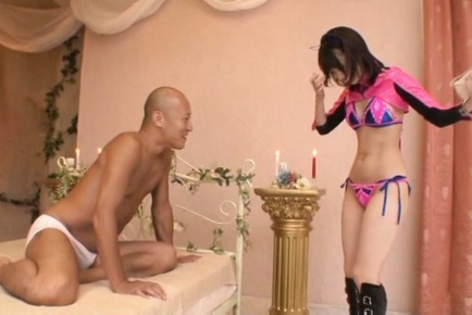 Misuzu kawana. Misuzu Kawana Asian in pink sophisticated outfit rubs elegant penish with oil