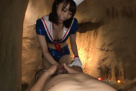 Misuzu kawana. Misuzu Kawana in shinny outfit suc cock and rubs it with glove
