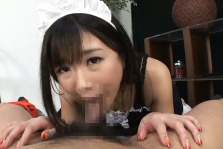 Japanese av model. Japanese AV Model in hot house keeper uniform gives fine blow