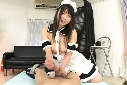 Japanese av model. Japanese AV Model house keeper puts oil on cock and strokes it