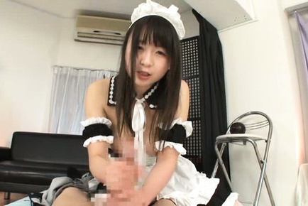 Japanese av model. Japanese AV Model with nude breasts strokes and licks boss penis