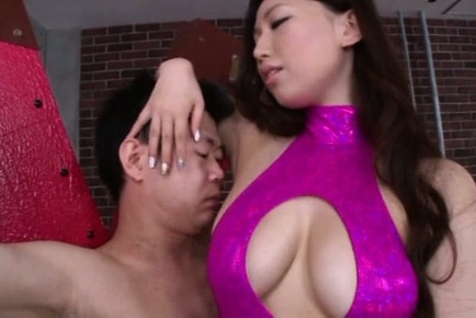 Sayuki kanno. Sayuki Kanno with huge boobs has underarm licked and rubs cock