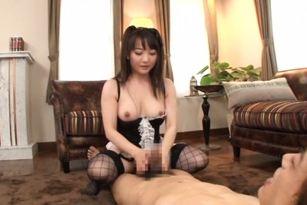 Yui sasaki. Yui Sasaki with cans out of maid dress has hairy slit make love