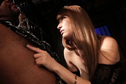 Tia. Tia Asian in lusty lingerie chains man and plays with his anatomy