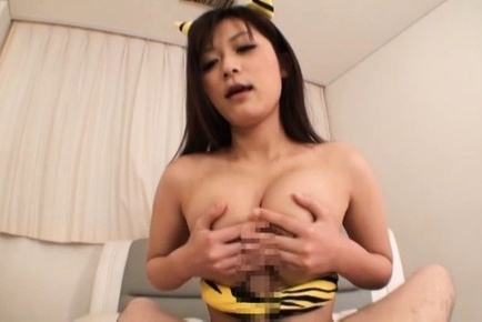 Amateur. Amateur Asian cat touches penish with her boobies and